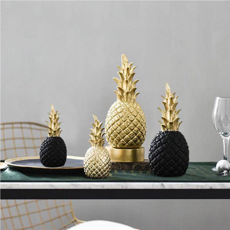 Nórdico moderno oro piña decoración casera creativa vino gabinete ventana escritorio apoyos accesorios de decoración del hogar