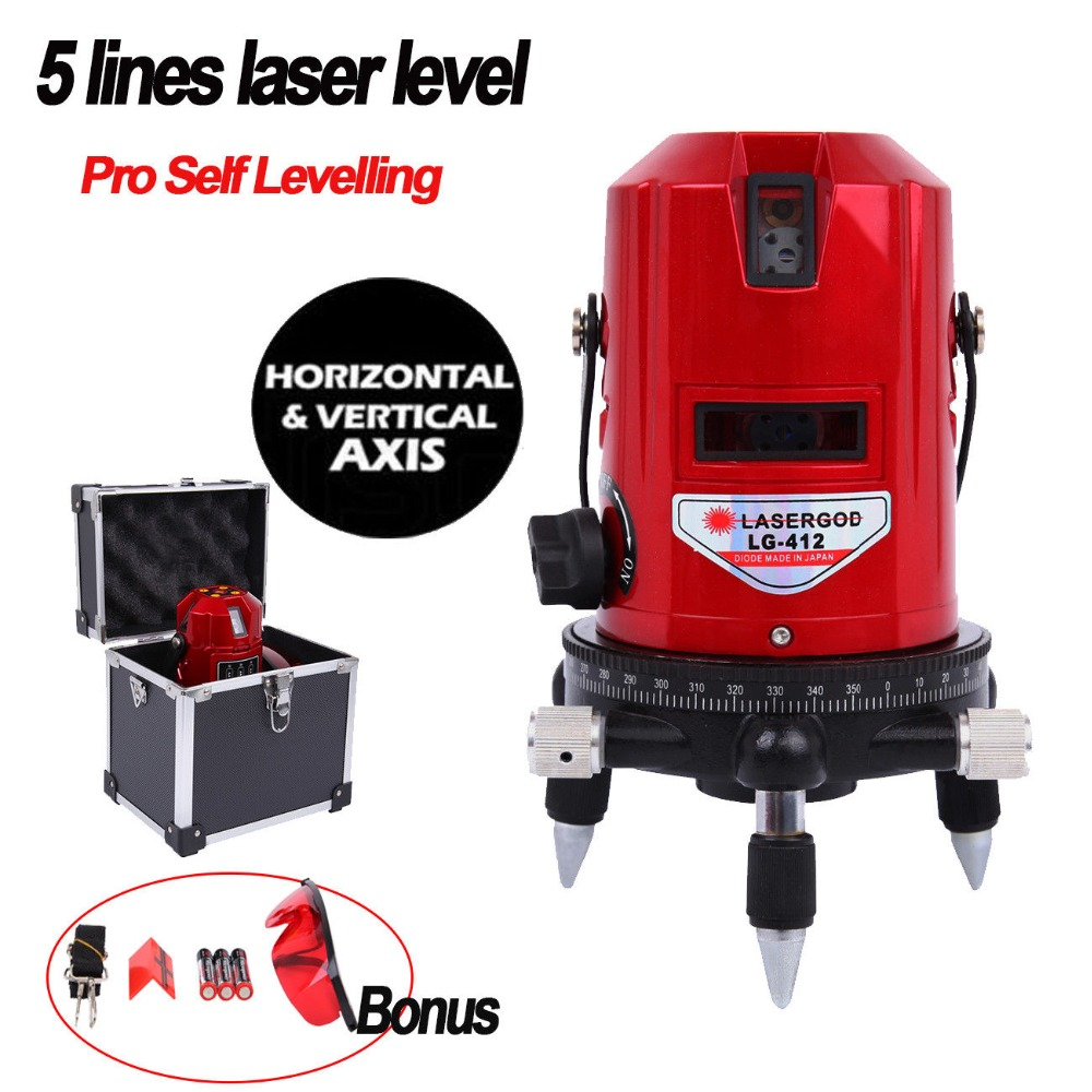 (Ship From EU) 5 Lines 6 Points Laser Level Self Leveling Vertical&Horizontal Tilt Cross Line Rotary Laser Level