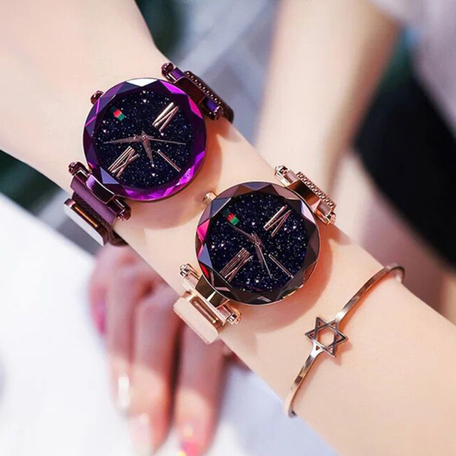 Luxury Ladies Starry Sky Watch Rose Gold Women Bracelet Watches Magnetic Bukle Mesh Fashion Casual Female Waterproof Clock Reloj
