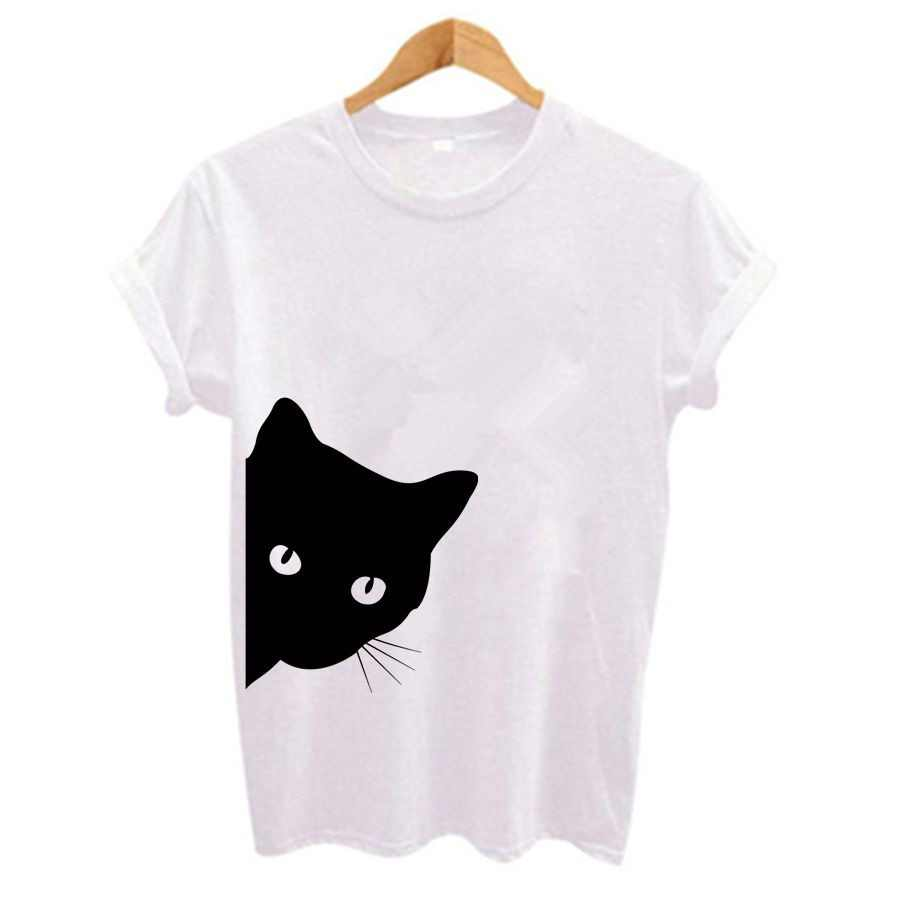bf705663e80b7 Plus size Harajuku Women t shirt Funny cat looking out side Print t-shirt  Casual