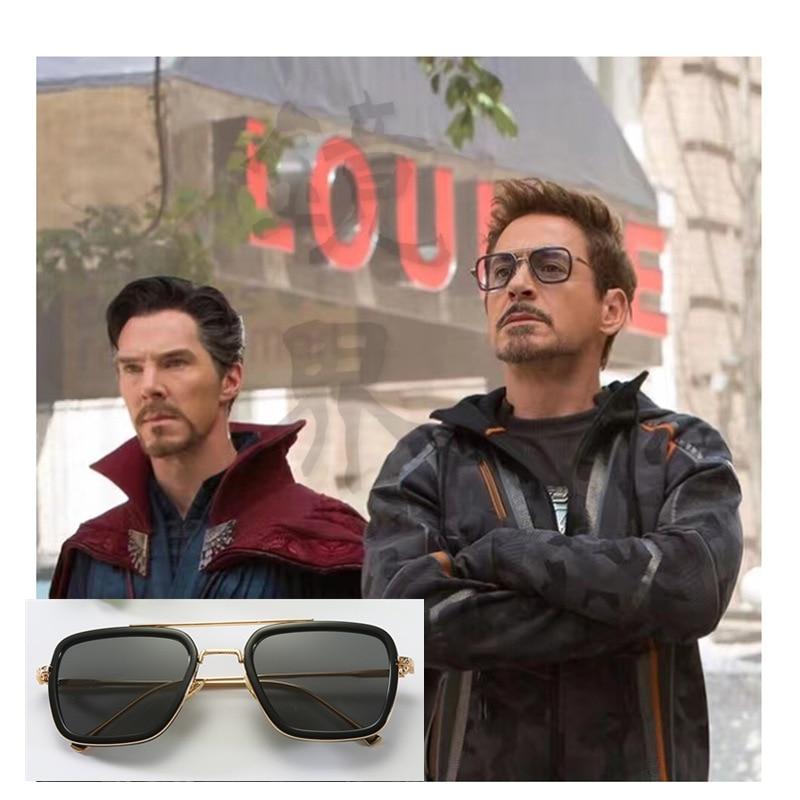Gafas tony stark lunettes De Soleil hommes métal miroir carré lunettes De Soleil rétro haute qualité Vintage okulary Lunette De Soleil Homme