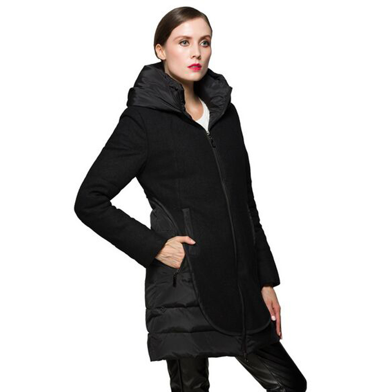 High Quality Fashion 2018 Winter Jacket Women White Duck Down Parkas Coat Black Patchwork Zipper Hooded Womens Down Jackets