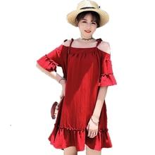цены на Women Wine Red Dresses Summer Braces Slip Dress Woman Short Sleeve Robe Femme Plus Size Shift Dresses Ruffle Hem Vestidos  в интернет-магазинах