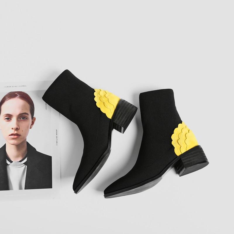 short Stiefel Yellow Plush Heißer Plüsch Stiefeletten Ferse Mädchen 2018 Frau Verkauf Boot Med Spitz Schuhe Frauen Stricken Leather Xinbest Für Kurze Yellow Winter RwBqgg