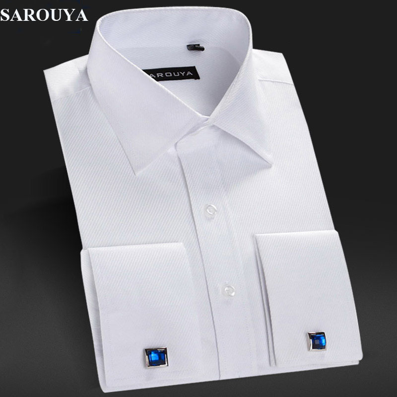 Sarouya mens white french cuff dress shirt with cufflinks White french cuff shirt slim fit