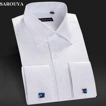 Sarouya herren weiß französisch manschette kleid t-shirt mit manschettenknöpfe männer langarm-shirt slim fit marke importierten clothing männer kleidung
