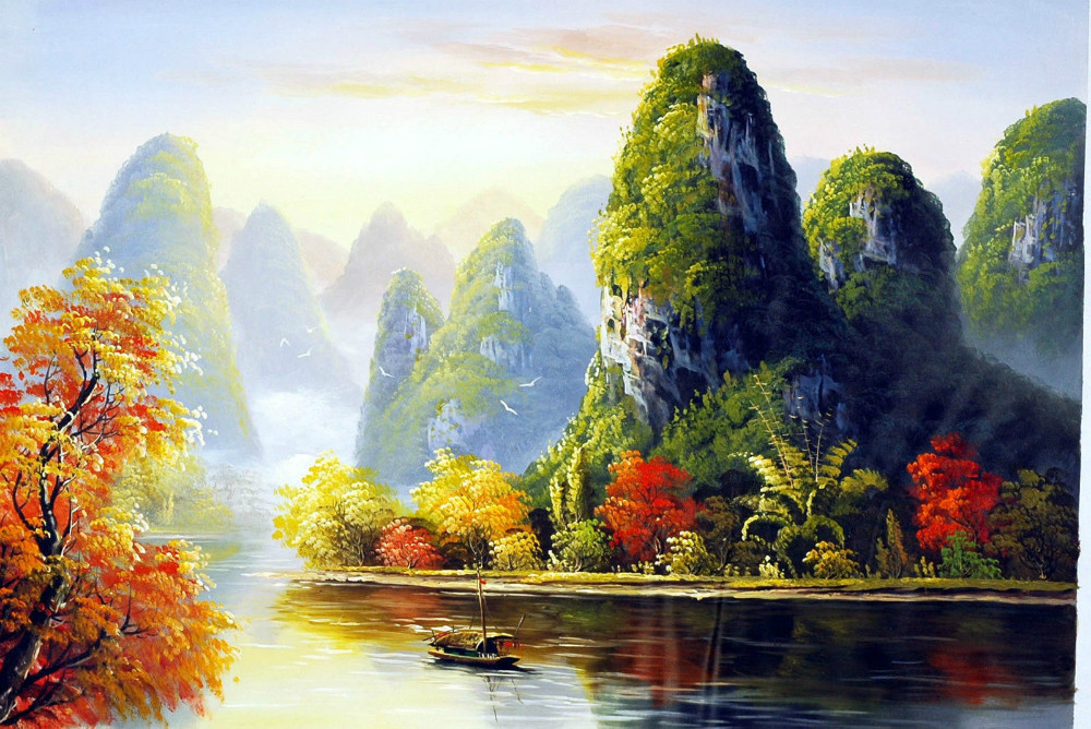 Chinese Scroll Oil Painting Lijiang River Landscape