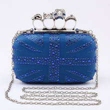 Fashion Skull Ring Evening Clutch Bag With diamante Pu Leather Prom Clutches Purse Black Blue personality