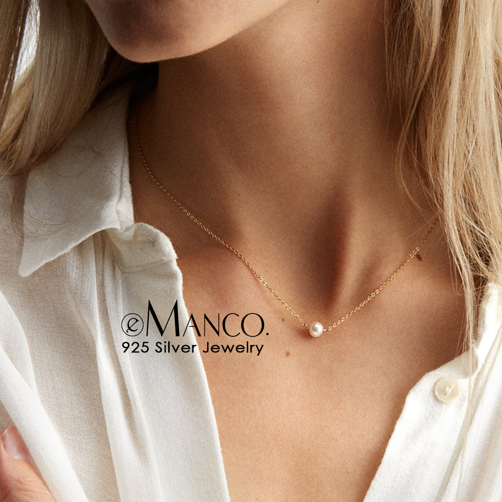 e-Manco Simulated Pearl Necklace for Women Fashion Jewelry 925 Sterling Silver Necklaces and Pendants for Women Gifts