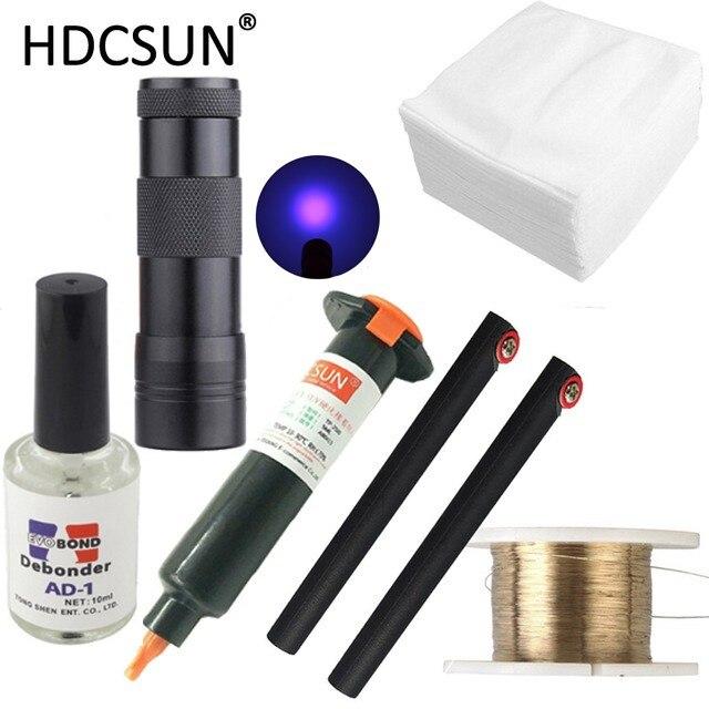 6 in1 LOCA tp-2500 UV Kleber 5 ml + uv-härtung licht + Uv Kleber Remover 20g + Schneiden draht 50 mt + kleidung Für LCD Touch Screen Reparatur
