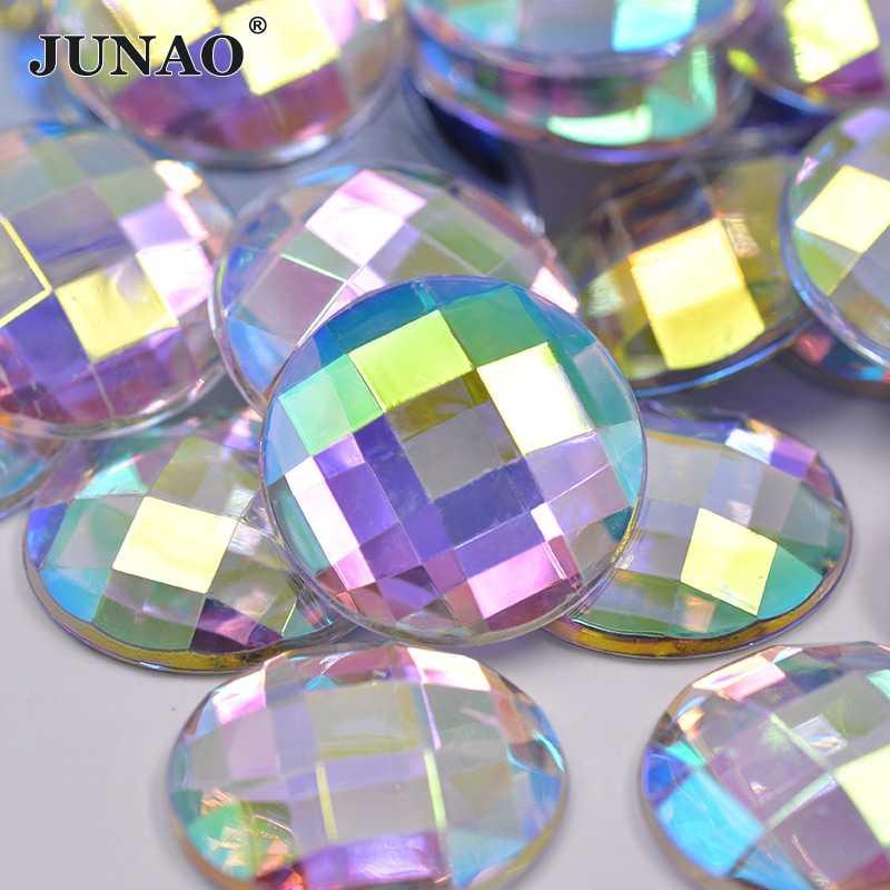 JUNAO 6 8 10 12 20 30 35mm Big Round Crystal AB Rhinestone Applique Flatback  Acrylic da0c5bb8e4d3