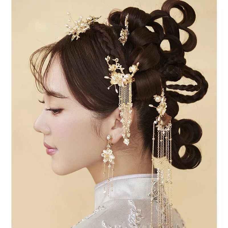 Neue braut vintage Chinesische braut kopfschmuck schritt schütteln quaste anzug Chinesischen hochzeit phoenix haar pins cornote