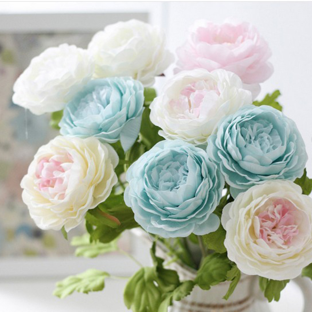 Artificial Peony Silk Flowers Bouquet Home Office Decor Weding