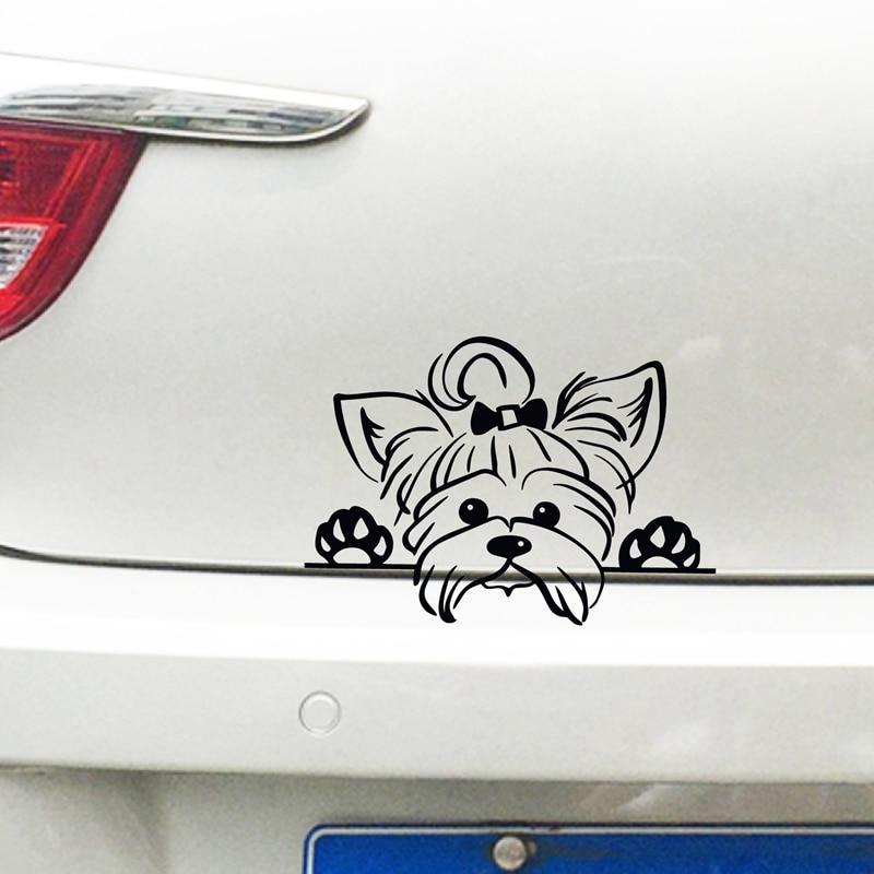 Виниловые наклейки йоркширского терьера, наклейки для украшения автомобиля, щенок, видящий йоркскую собаку, для украшения стаканов и ноутб...