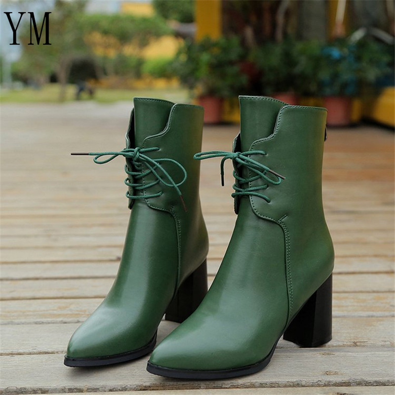 2018 Green PU High Heel Women Boots Fashion High-heeled Pointed Toe Solid Platform Ankle Boots Lace Up Autumn Women Shoes 35-39 2018 autumn bohemia chic women maple leave sandals party flat shoes pointed toe high top lace up ankle strappy shoes green red
