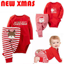 d3a9d4483 2018 Emmababy Xmas Newborn Baby Boys Girls Christmas Letter Cartoon Red  Romper Stripe Long Pants Clothes Outfits Winter Set t