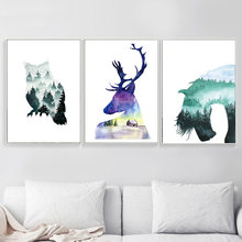 Owl Deer Horse Watercolor Forest Animal Nordic Posters And Prints Wall Art Canvas Painting Wall Pictures For Living Room Decor(China)