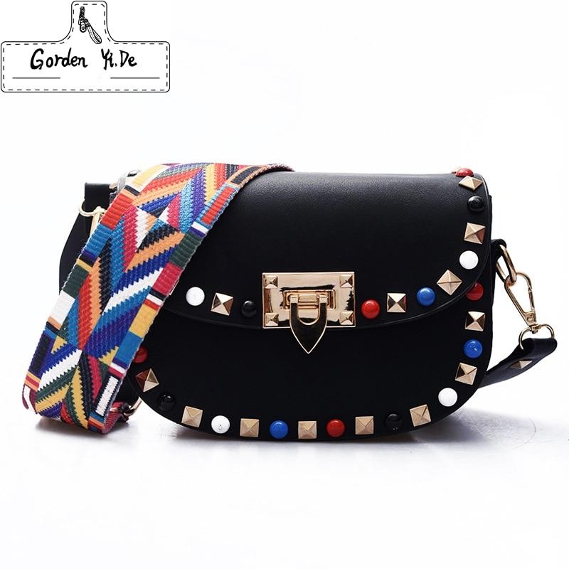 цена на High Quality PU Leather Women Crossbody Bags Fashion Color Rivet Design Women Shoulder Bags Color Shoulder Strap Ladies Bag 2018