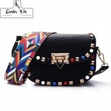 High Quality PU Leather Women Crossbody Bags Fashion Color Rivet Design Women Shoulder Bags Color Shoulder Strap Ladies Bag 2018