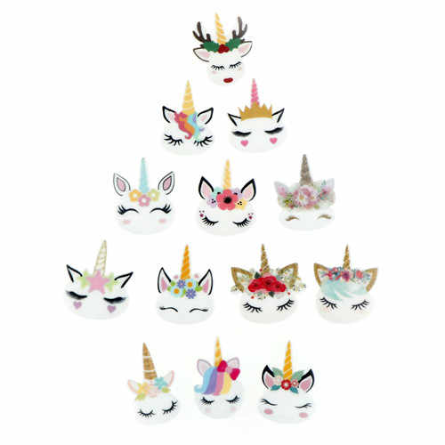 5 Pcs/lot Baru Planar Resin Unicorn Lucu Kepala Kawaii Resin Cabochons Aksesoris