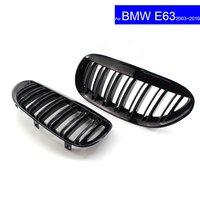 For BMW E63 2003 2010 Car Front Hood Kidney Grille Grill 2 Bar Glossy BlackAuto Bonnet