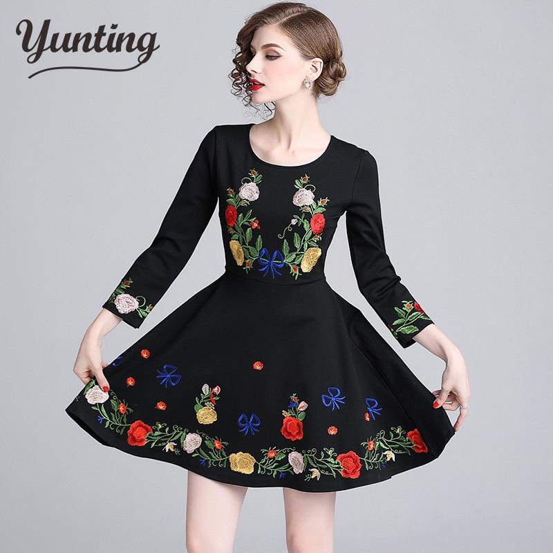 Newest 2018 Designer Runway Dress Women's Retro Floral Printed Flower Jacquard Dress Ladies Winter Party Dress
