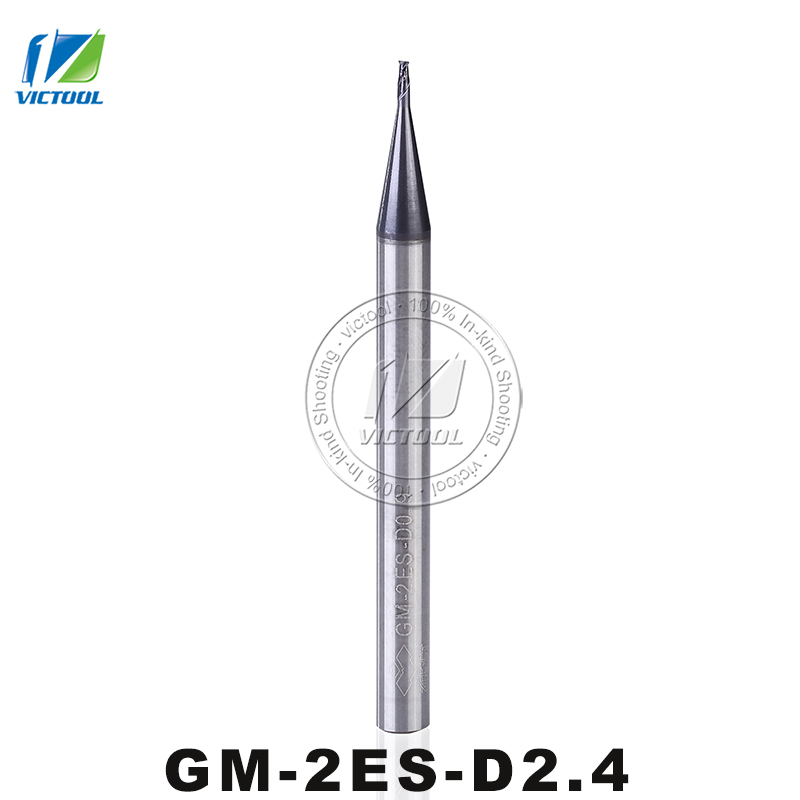 GM-2ES-D2.4 Cemented Carbide Tiny Diameter End Mills 2 Flute Flattened End Mills Straight Shank Machining For Cast Iron Tools gm 2e d11 0 d12 0 d14 0 cemented carbide cnc milling 2 flute flattened end mills with straight shank machining stainless steel