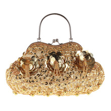 цены Bamboo Charm Vintage Evening Clutch Shell Bag for Women Beading Flowers Rhinestone Sequins Handbag Pouch Crossbody Shoulder Bag