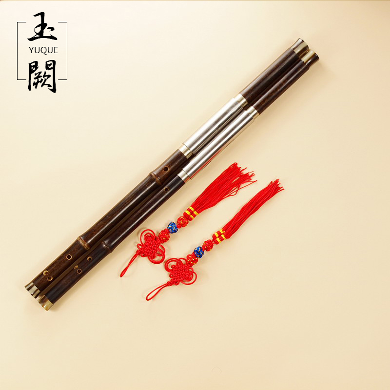 Chinese Traditional Professional Performance Black Bamboo Bawu Dual-Pipe Ba Wu Flute + Case Key of F+bB, G+C traditional handcrafted bamboo flute f key