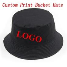 cd3f3469 Custom Personalized Print Bucket Hat Adult Men Women Outdoors Sports  Fashion Casual Cotton Gorras Hats Free
