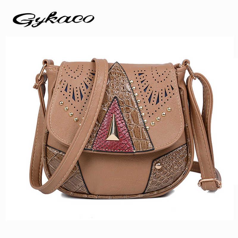 8150e873bb Gykaeo Brand 2017 European and American Style Fashion Shoulder Bag Hollow  Out Rivet Crossbody Messenger Bags