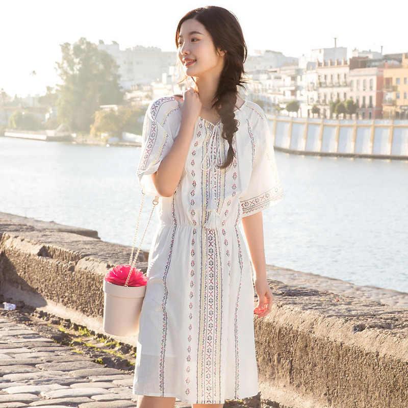 INMAN sanatsal uzun yaz elbise yarım kollu baskı bayan elbise yeni stil yuvarlak yaka Slim Fit bayan elbise