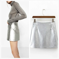 Mode Amerikaanse Kleding Vrouwen Slanke Sexy Hoge Taille Rok Goud Zilver Potlood Korte Mini Rok Clubwear Faldas saia feminina