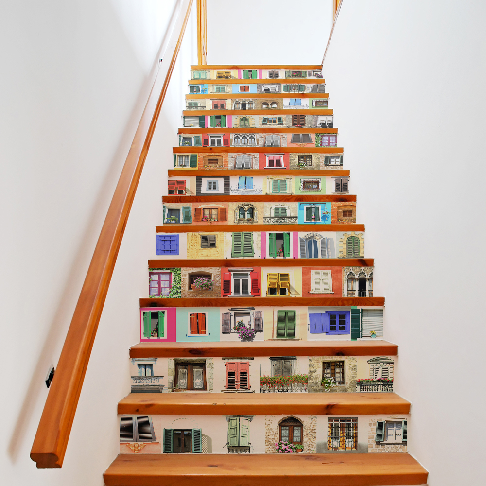 Bookcase Wall Stickers Mural Stair Decal Book and Story Creative ...