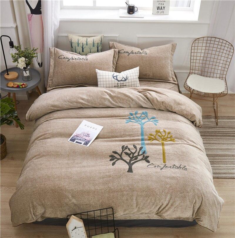 Постельное белье серый фланель льняное покрывало пододеяльник покрывало набор для двуспальной кровати queen King постельное белье для взрослы