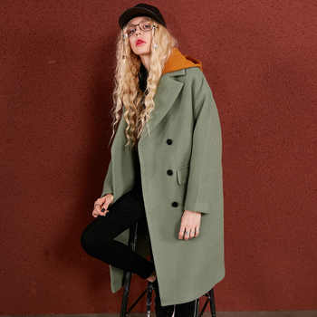 ELFSACK 29.1% Wool Coats Women Winter Hooded Fake Two Pieces Womens Long Coats Loose Pockets Outerwear Female Casual Coats