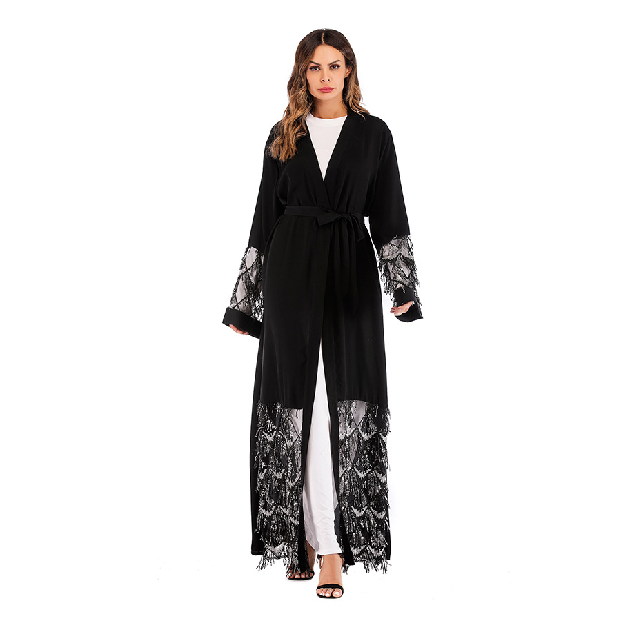 Muslims Long   Trench   Coat V-Neck Open Stitch Loose Sequined Tassel Mesh Patchwork Women Windbreaker Overcoat With Sashes TP1667