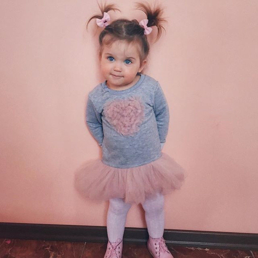 4714066a5 2018 New cute kid tulle tutu dress Adorable Kids Baby Girls Long Sleeve  heart Lace Tutu Dress mesh sweet dress for little girl-in Dresses from  Mother & Kids ...