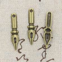 12pcs Charms vintage ink nib pen 32x7mm Antique Making pendant fit,Vintage Tibetan Bronze Silver,DIY bracelet necklace(China)