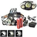 Boruit 6000Lm 3X XM-L T6 + 2R5 светодиодный налобный фонарь 18650 + AC/Автомобильное зарядное устройство велосипедный велосипед свет для спорта на открытом ...