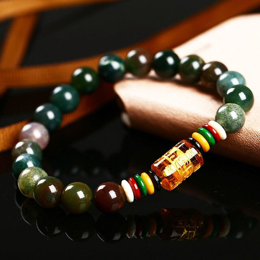 7d4040c369c9 Joyería romántica y pulsera de piedra de ónix Natural de 8mm las seis  pulseras budistas Mantra pulseras de cuentas al por mayor