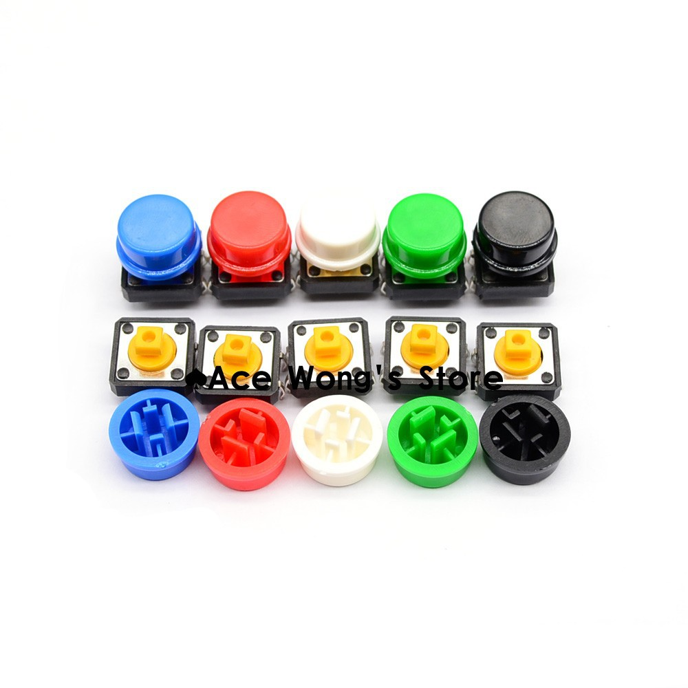 20PCS Tactile Push Button Switch Momentary 12*12*7.3MM Micro switch button + (20PCS 5 colors Tact Cap) ...