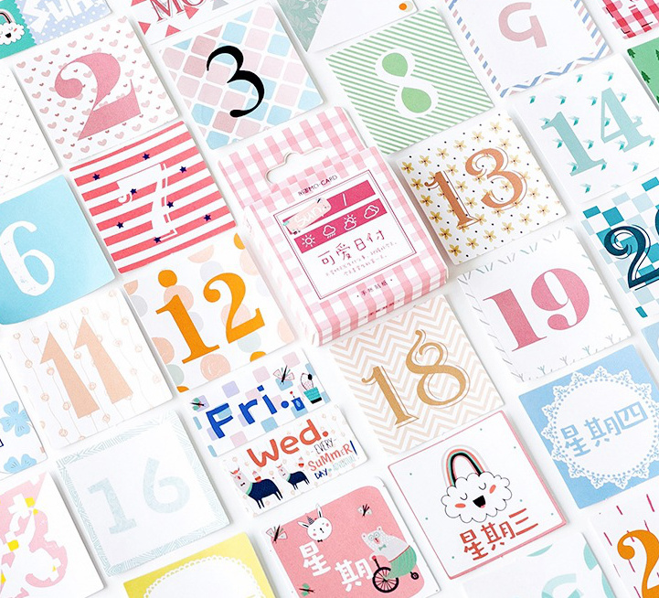 1PACK=45PCS DIY Dates Mini Paper Stickers 4.4*4.4cm DIY Sealing Sticker Gift