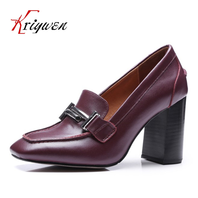 ФОТО New Spring high heeled shoes 100% cow leather pumps metal decoration classics sexy lady pumps concise female party career shoes
