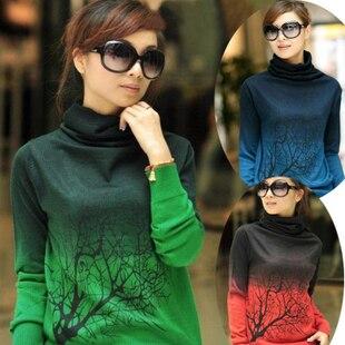 2013 Women's Basic Shirt Print Heap Turtleneck Plus Size Sweater Short Design Cashmere Sweater/Pullover Female