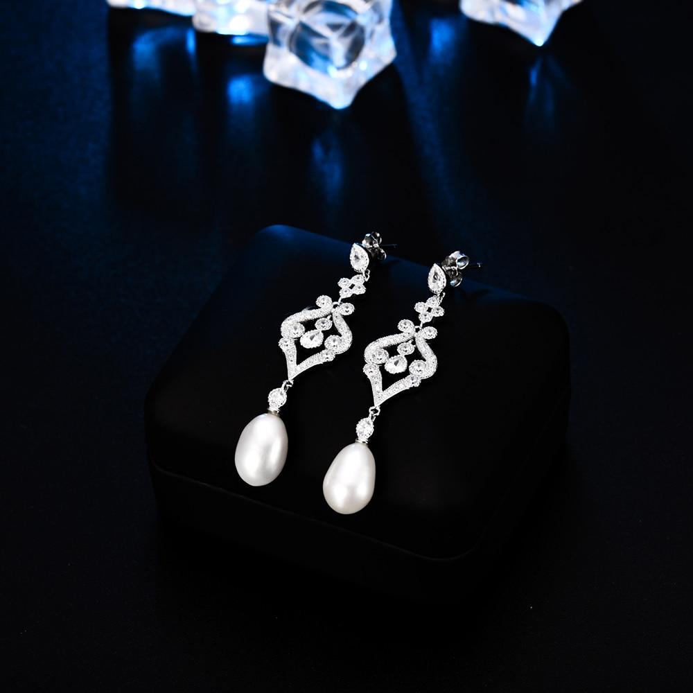 LZESHINE 100% 925 Sterling Silver Pearl Drop Earrings For Womens Elegant Palace Style CZ Wedding Bridal Jewelry Pendant Earrings