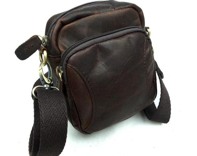 Genuine Leather Man Bag Male Casual Cross Body Small Waist Pack Crazy Horse Vintage