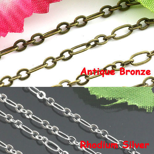 50m/Lot Wholesale Antique Bronze/Rhodium Silver Big hoop 3*6mm Small Hoop 2*3mm Chain Accessories Fit DIY Jewelry Making