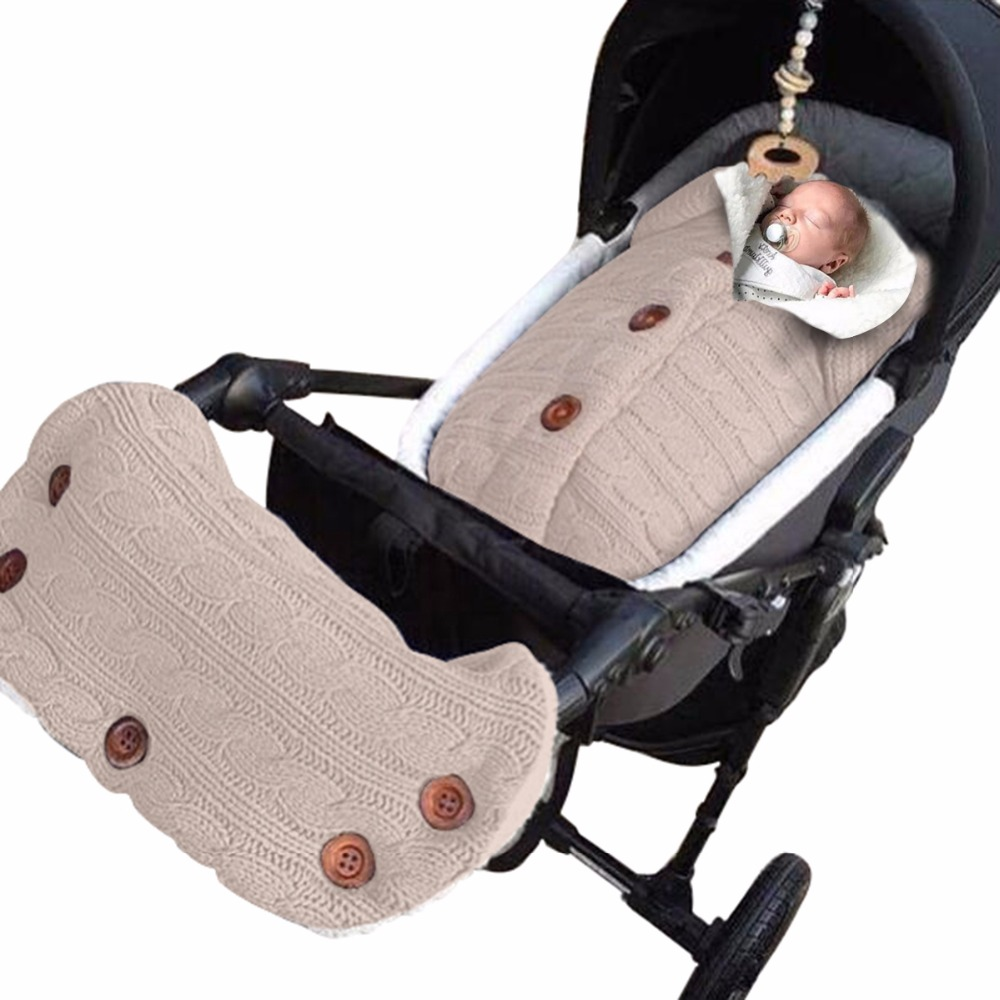 New Thick Baby Swaddle Wrap Knit Envelope Newborn Sleeping Bag Baby Warm Swaddling Blanket Stroller With Hand Warmer Glove Cover