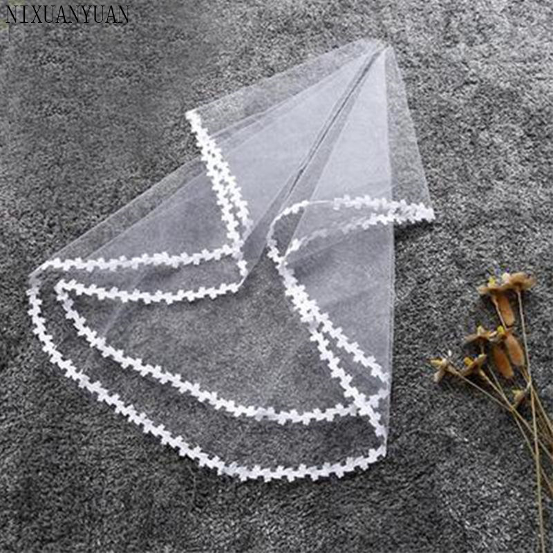 Women Bridal Marriage One Layer Cathedral Short Wedding Veil Floral Leaves Lace Edge Trim Appliques White Without Comb